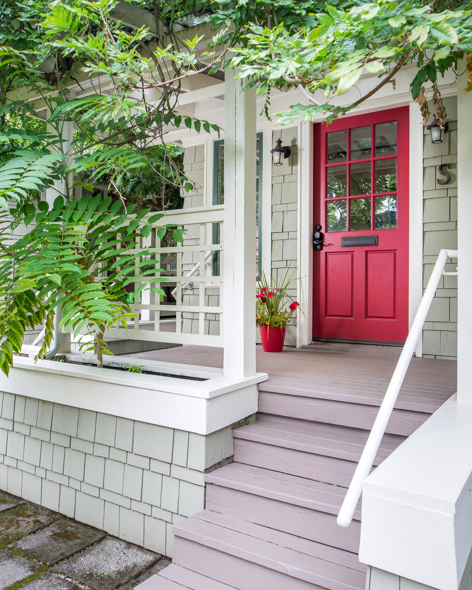 Seattle home entrance red door